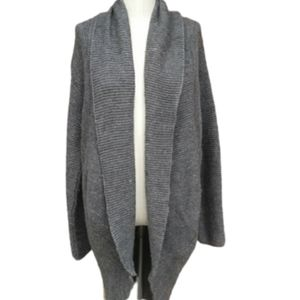 Zara Knit Gray Chunky Low High Open Front Cardigan